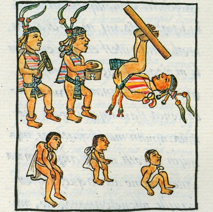 У ацтеков карлики считались священными и предназначались в жертву богу солнца Тонатиу. По одной версии на данном изображении из  Флорентийского кодекса показано выступление карликов вместе с музыкантами и акробатами на празднике во дворце, по другой - процесс «изготовления» карликов в ритуальных целях