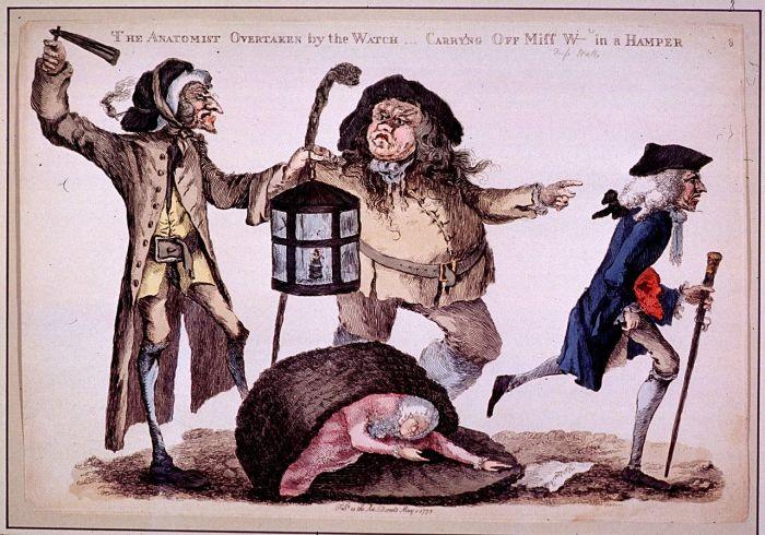 Любитель анатомии пойман ночной стражей. Гравюра