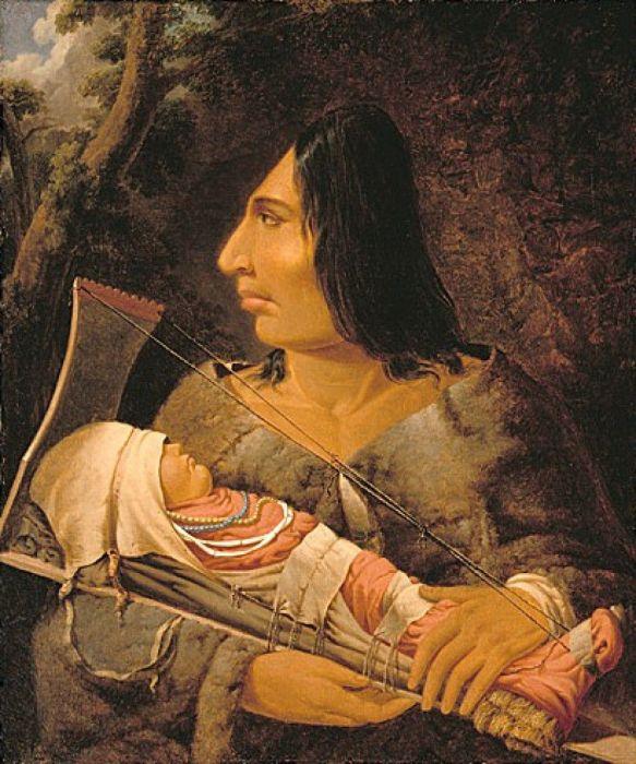 Индейская женщина с ребёнком, зажатым в станке для деформации черепа