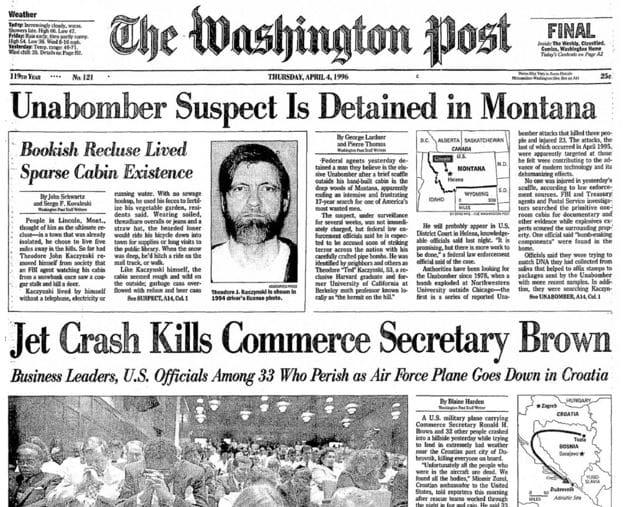 Передовица Washington Post с сообщением об аресте подозреваемого по делу Унабомбера