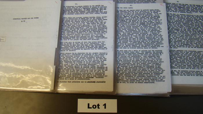 Рукопись манифеста Унабомбера. /Фото:  npr.org