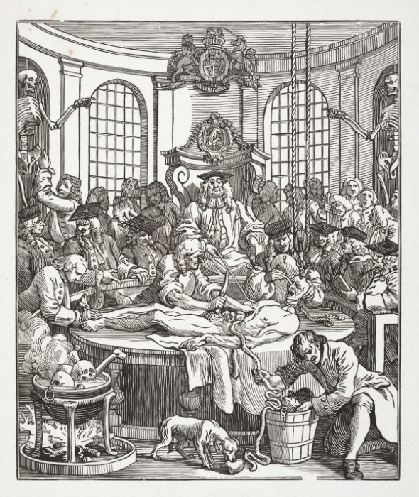 «Награда за жестокость» - гравюра, изображающая вскрытие медиками тела казнённого преступника