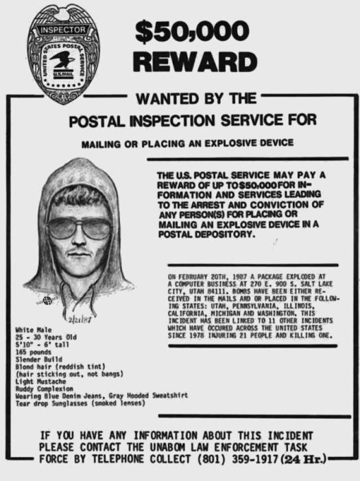 Одно из первых объявлений о розыске неизвестного бомбиста. Тогда награда составляла всего лишь 50 000 долларов. /Фото:  fineartamerica.com