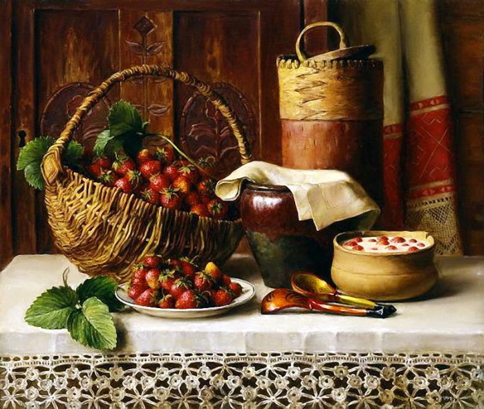 На Руси скатерть была произведением искусства. /Натюрморт художника Ю.Кудрина