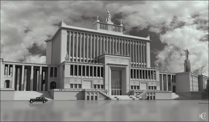 Воссозданный в наши дни проект здания Большого академического кинотеатра работы Д. Чечулина и К.Орлова. /Фото:arch-heritage.livejournal.com