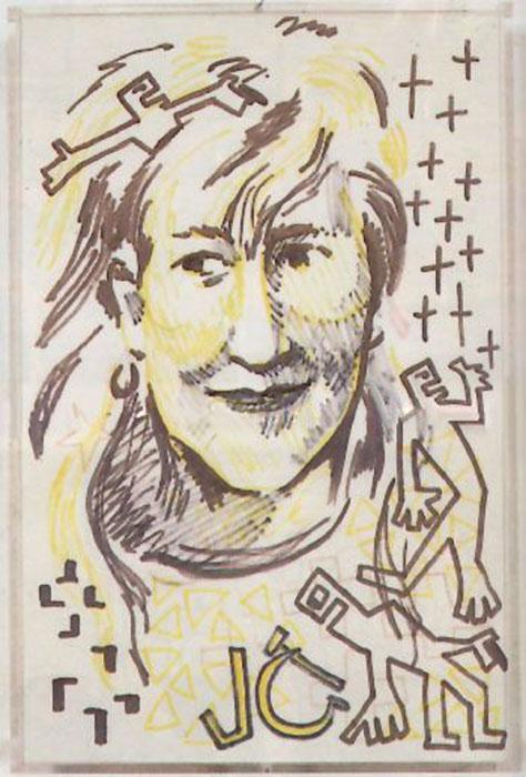 Цой нередко рисовал и портреты музыкантов. Здесь очень узнаваема Джоанна Стингрей.