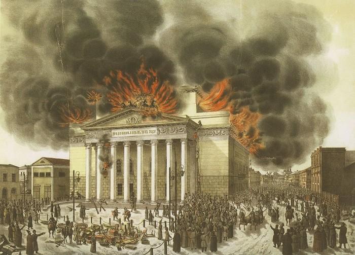 Пожар Императорского Большого театра 11 марта 1853 года. /Литография с рисунка Э. Лилье. 1853 г.