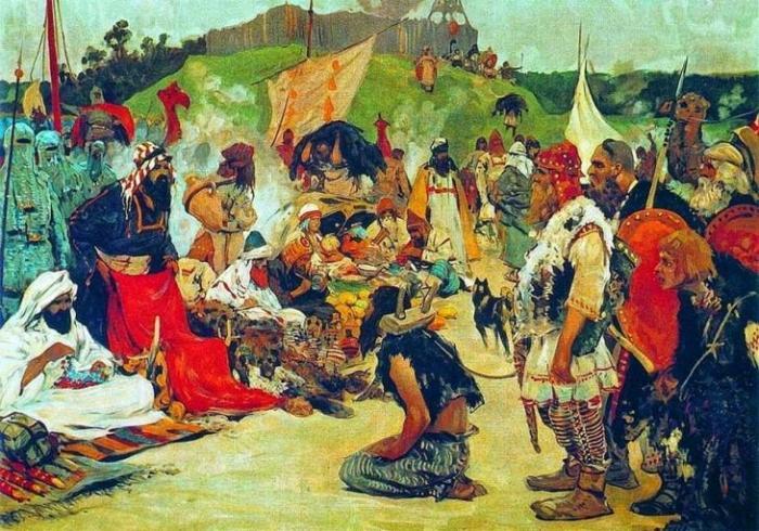 С. Иванов. Торг в стране восточных славян. 1909 г.