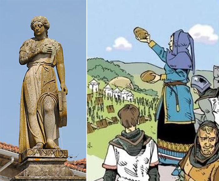 Деу-ла-Деу в виде скульптуры и в современной иллюстрации.