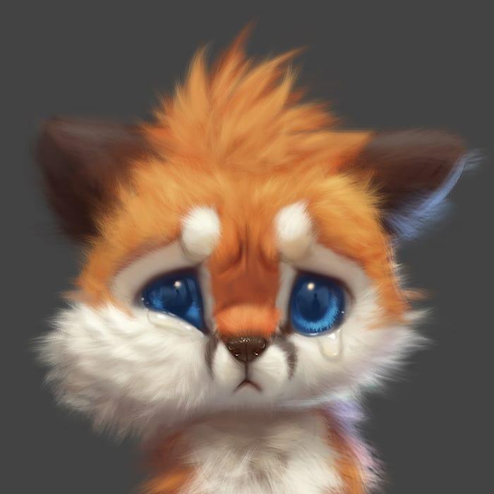 Иногда в виртуальной жизни лисёнка что-то может обидеть до слёз.