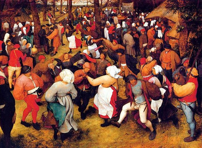 Питер Брейгель Старший. Свадебный танец на свежем воздухе 1566 г.