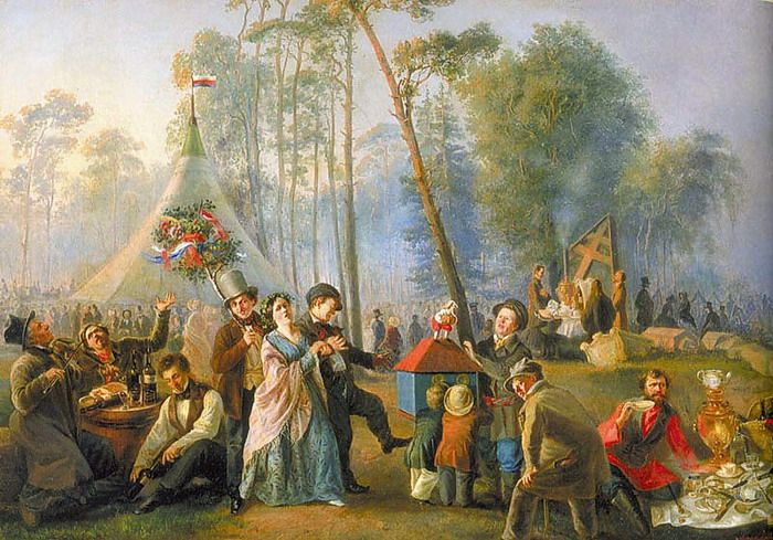 «Гулянье в Марьиной Роще». /Картина худ. В.Астрахова, 1852 год.