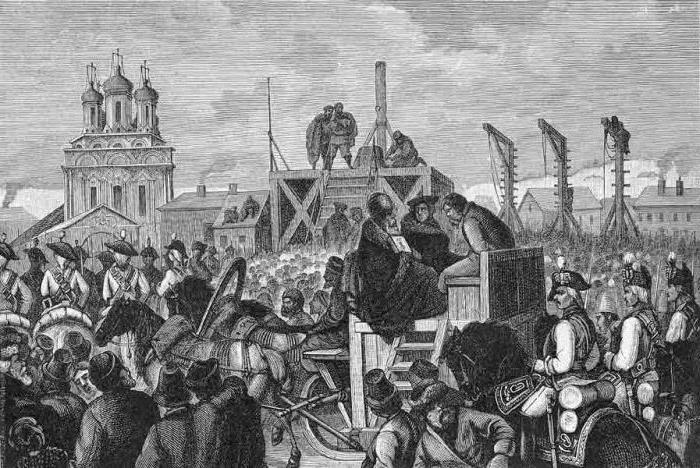 На Болотной совершались казни. Например, здесь казнили Пугачева. Гравюра с картины А. И. Шарлеманя. Середина XIX века