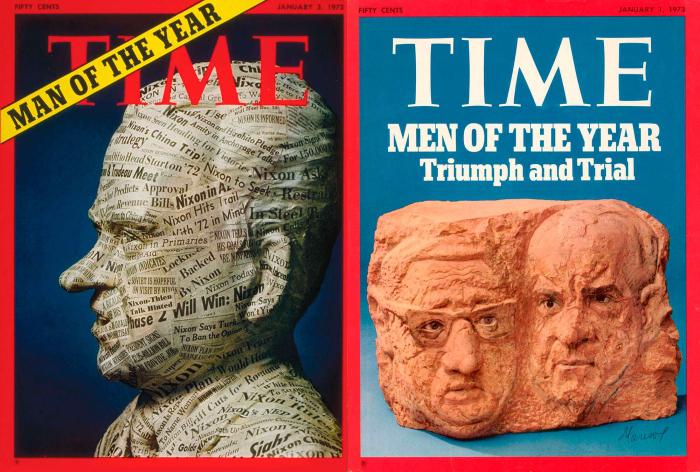 Никсона дважды объявляли Человеком года. Во второй раз он разделил этот титул со своим советником по национальной безопасности. /Фото: обложки журнала Time