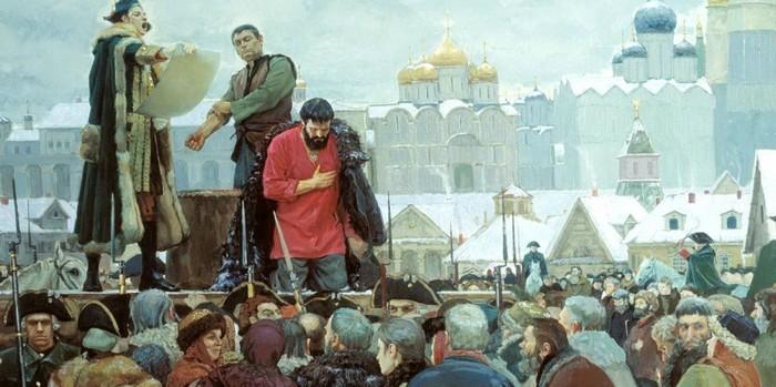 Пугачеву зачитывают приговор. /Фото:Худ. В. Маторин
