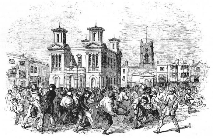 Матч в Кингстон-на-Темзе (Англия). /Гравюра 1846 года