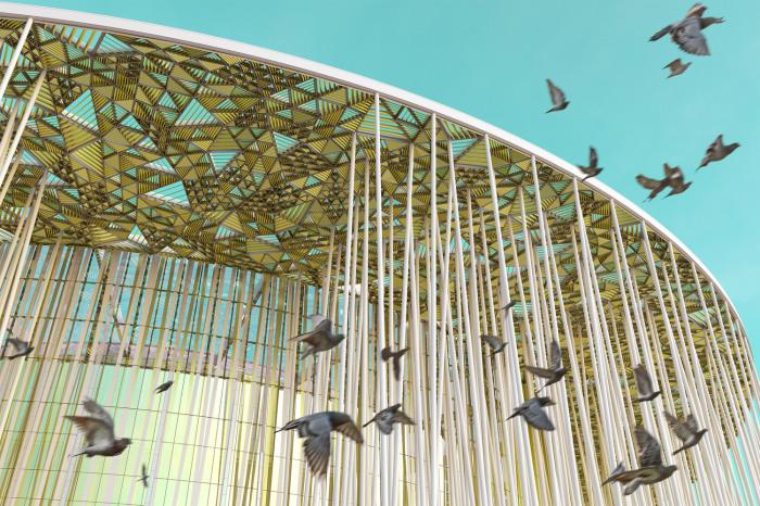 Навес стилизован под листву бамбука. /Фото:sca.design