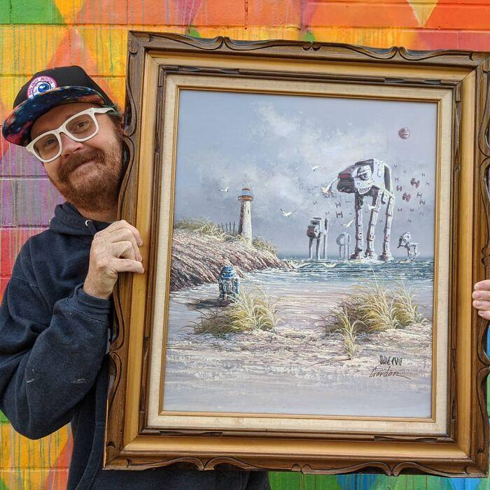 Дэйв просто мастерски вписывает фэнтези-героев в старые пейзажи.