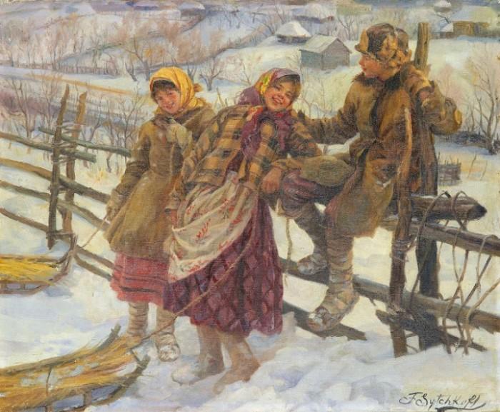 Вот так девочек в зимних лаптях изобразил Федот Сычков