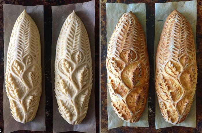 Хлебные шедевры до выпечки и после.