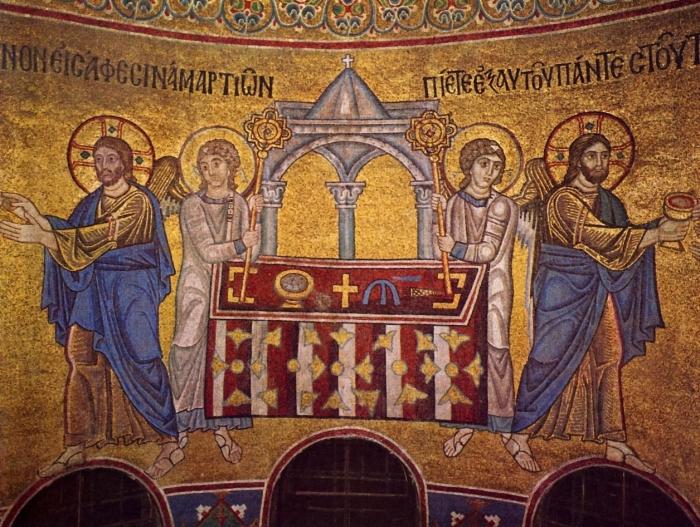 Мозаика «Евхаристия». Центральная её часть. /Фото:pravlife.org
