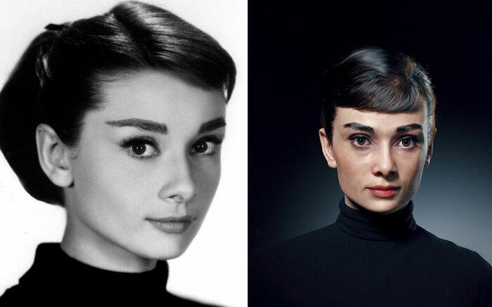 Одри Хепбёрн в трехмерном изображении (справа).