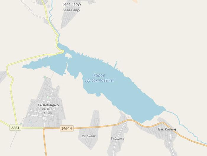 Водохранилище протяженностью 22 километра. Изображение на карте.