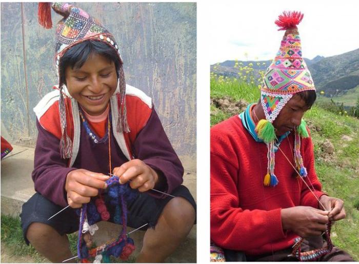 Перуанский мужчина и перуанский мальчик за вязанием. /Фото:livemaster.ru