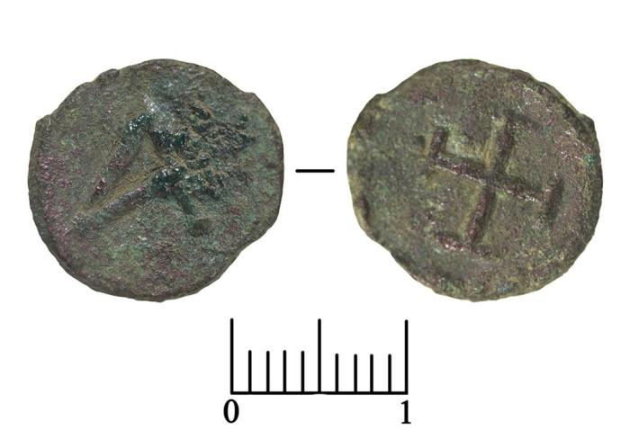 Найденная археологами литая монета архонтов Херсонеса , VIII в. /Фото:archaeolog.ru