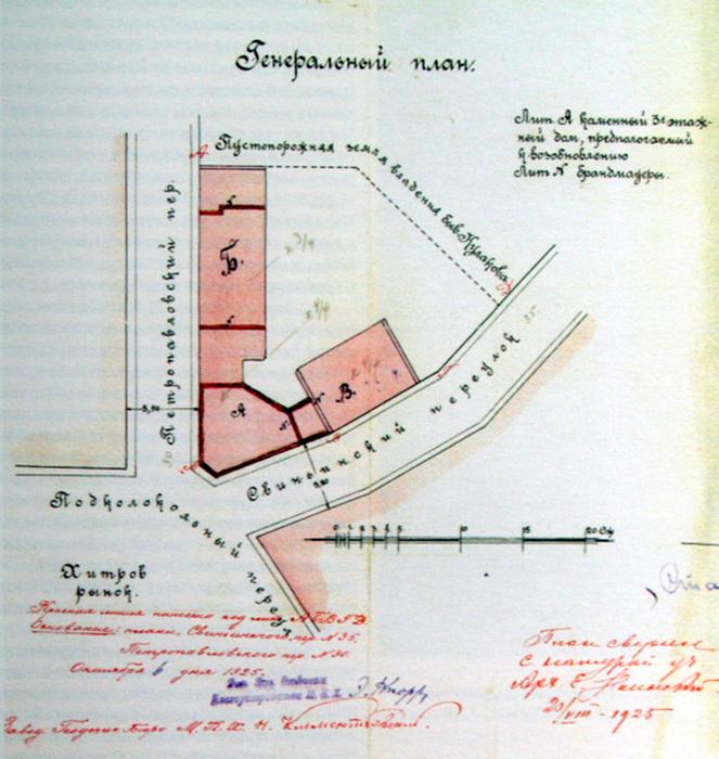 Таким был план Дома-утюга и примыкающих к нему зданий при Кулакове. /Фото:moskva.info