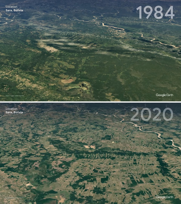 Провинция Сара в Боливии в 1984 и в 2020 году