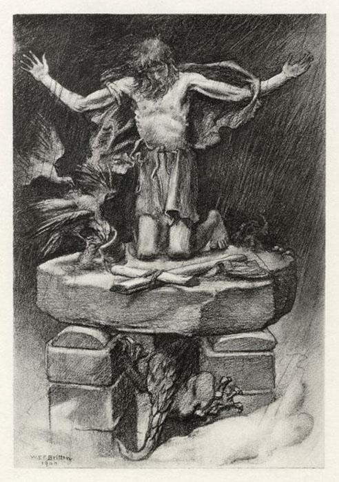 Иллюстрация У. Э. Ф. Бриттена к стихотворению Альфреда Лорда Теннисона «Святой Симеон Столпник» (1841 г.)