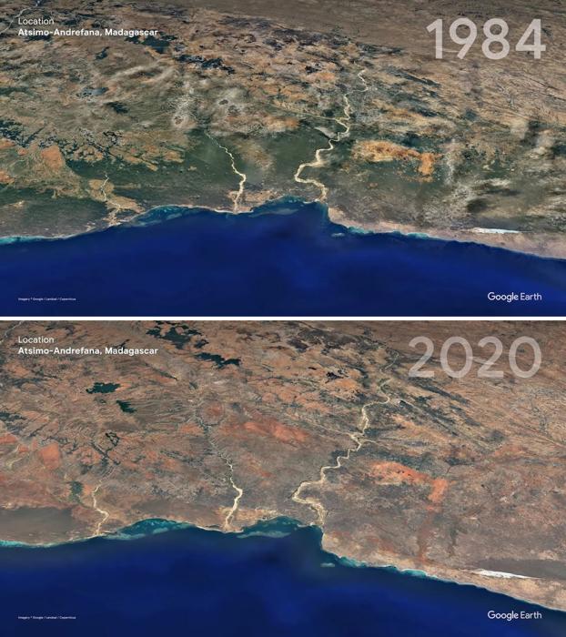 Эта часть Мадагаскара была некогда зеленой, а стала рыжей.