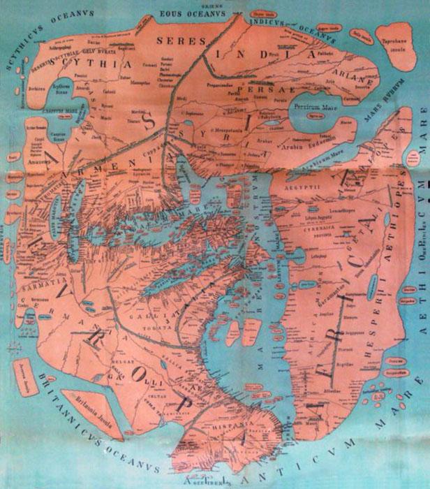 Воссозданная современными исследователями карта Помпония Мелы. /Фото:blogspot.com