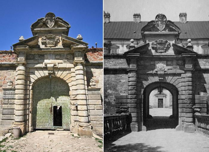Сейчас Над главными воротами, можно увидеть три фамильных герба тех знатных польских родов, которые в разное время владели замком. /Фото:zamki-kreposti.com.ua