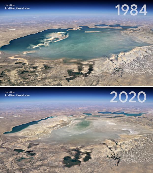 Аральское море существенно уменьшилось и продолжает уменьшаться.