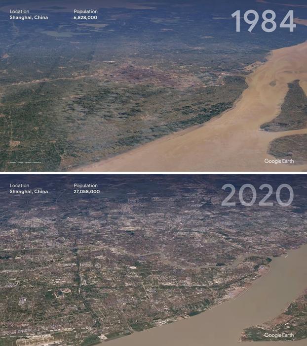 Шанхай сильно изменился, и это отчетливо видно на фото со спутника.