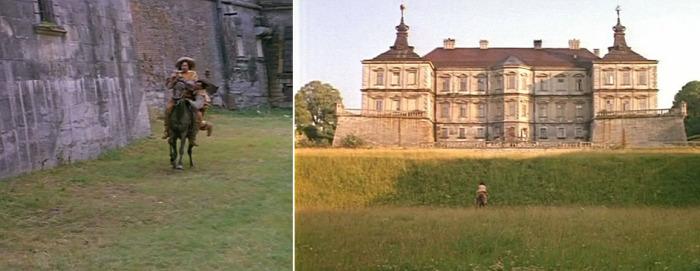 Замок можно увидеть в знаменитом советском фильме про мушкетеров. Кадры из кинокартины.