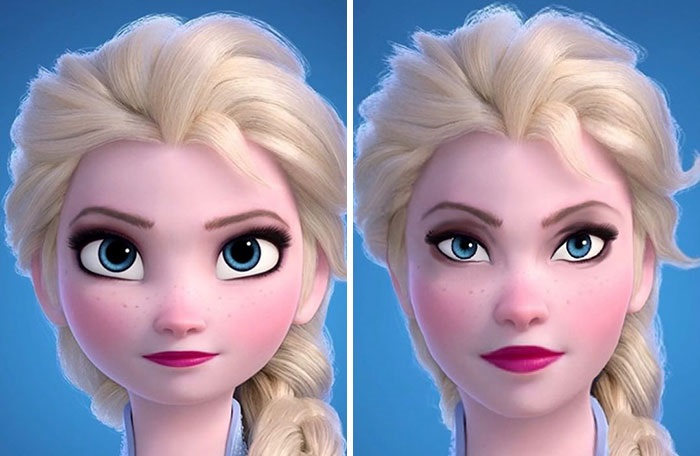 Эльза в мультяшном и реалистичном варианте. Автор рисунка справа - Холли Фейри.