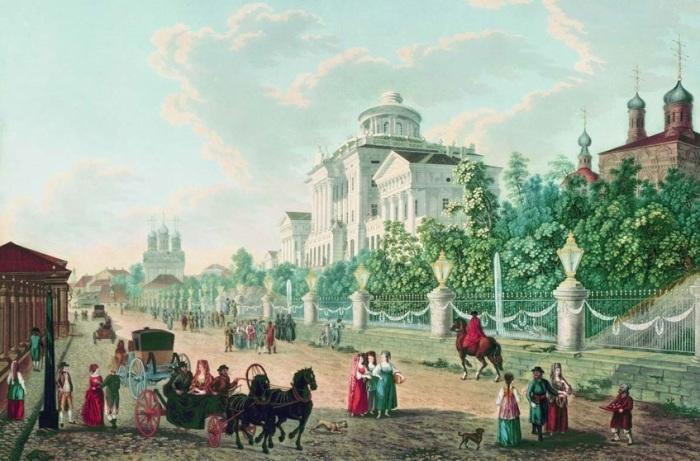 Жерар Делабарт. Вид Моховой улицы и дома Пашкова. 1795 г.