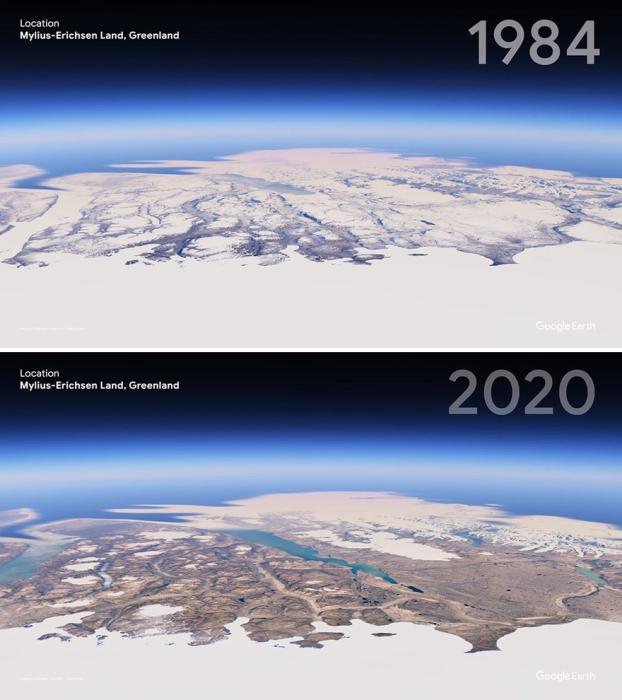 Остров Гренландия теперь гораздо меньше покрыт льдом.