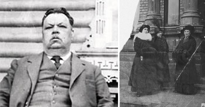 Сохранившиеся до наших дней фотогарфии: купец Федор Колобов и его супруга с дочерьми.