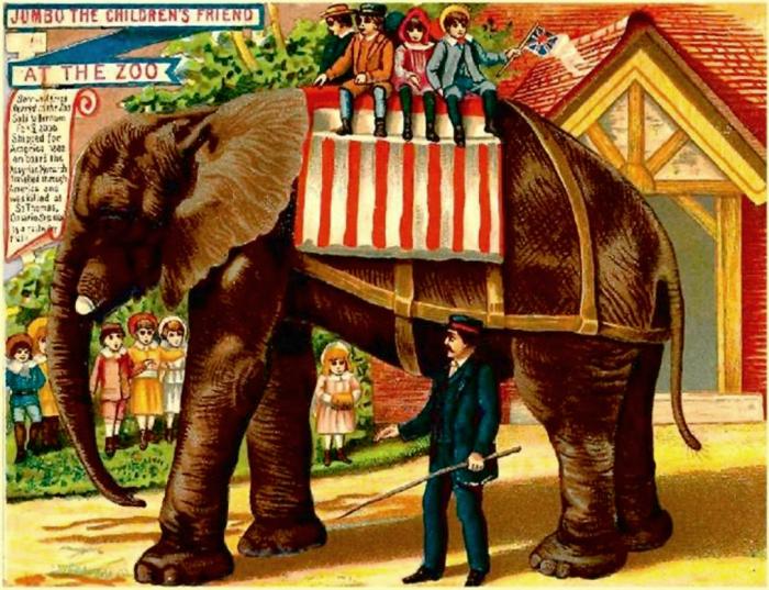 «Джамбо — друг детей». Британская открытка 1880 года.