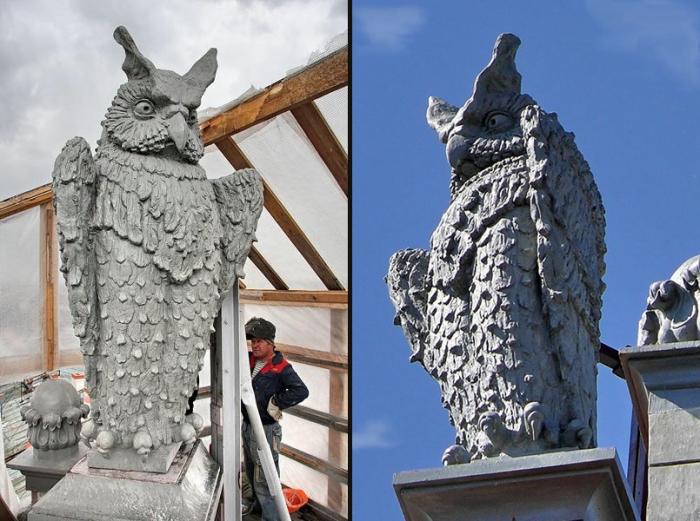 Сова во время реставрации и сова после реставрации. /Фото:liveinternet.ru, pantv.livejournal.com