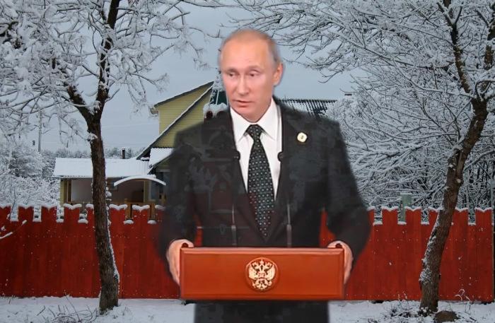 Путин на фоне сазоновского Кремля. / Шуточный монтаж из видеоролика архитектора.