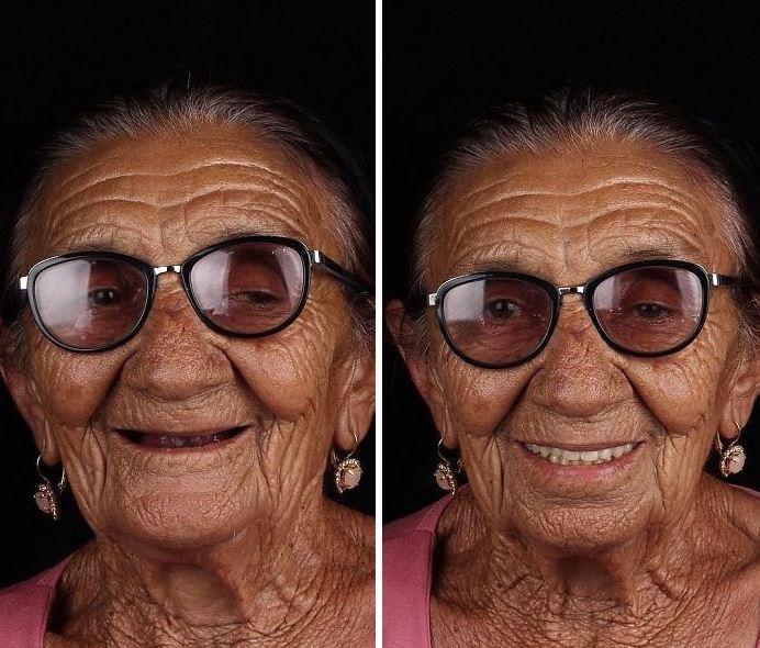 Эта очаровательная бабушка с зубами выглядит намного элегантнее.