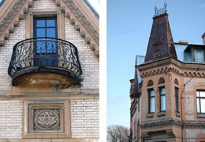 Фрагменты здания. Под балконом видны те самые циркуль и треугольник. /Фото:cityspb.ru