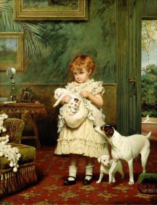 «Девочка с собаками» /Charles Burton Barber