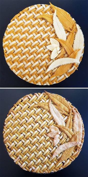 А этот пирог похож на панно из соломы.