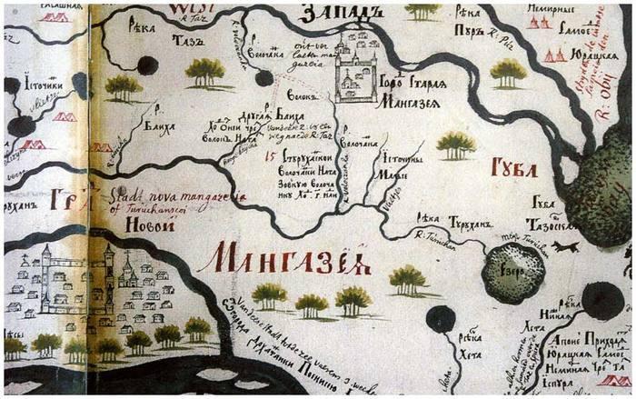 Мангазея на старинной карте.